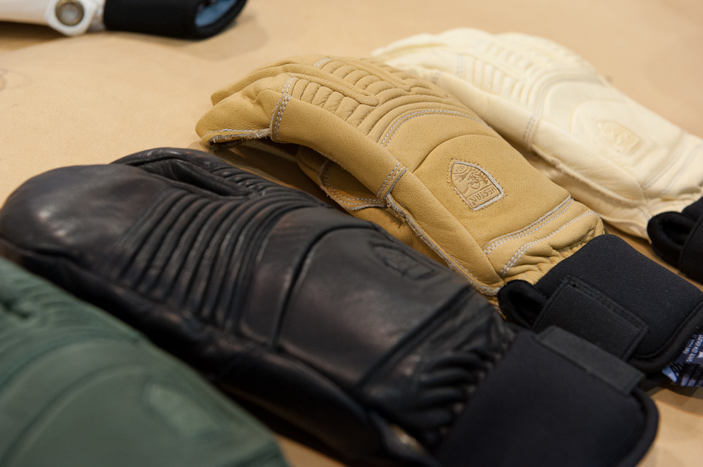 The Hestra Gloves Fall Line Collection features leather cowhide, fiber fill insulation and a neoprene cuff for under the jacket. Its leather is dyed instead of sprayed making it really breathable.  - ©Ashleigh Miller Photography