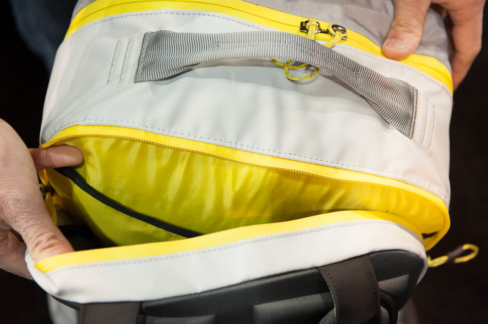 "The Transhauler pack from Marmot is made of 420 denier ballistics cloth, a lightweight yet protective material. The pack opens in a D shape, allowing you to pack it on a flat surface like a suitcase, and also features a laptop sleeve capable of holding a 17"" laptop.  - ©Ashleigh Miller Photography"