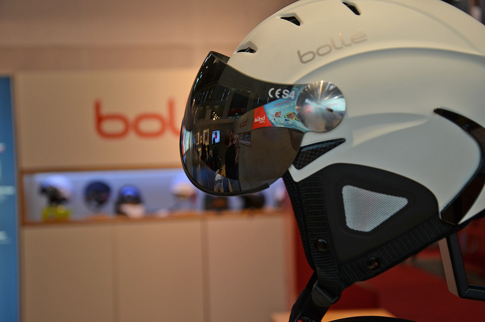 Boll displays a helmet with visor as well