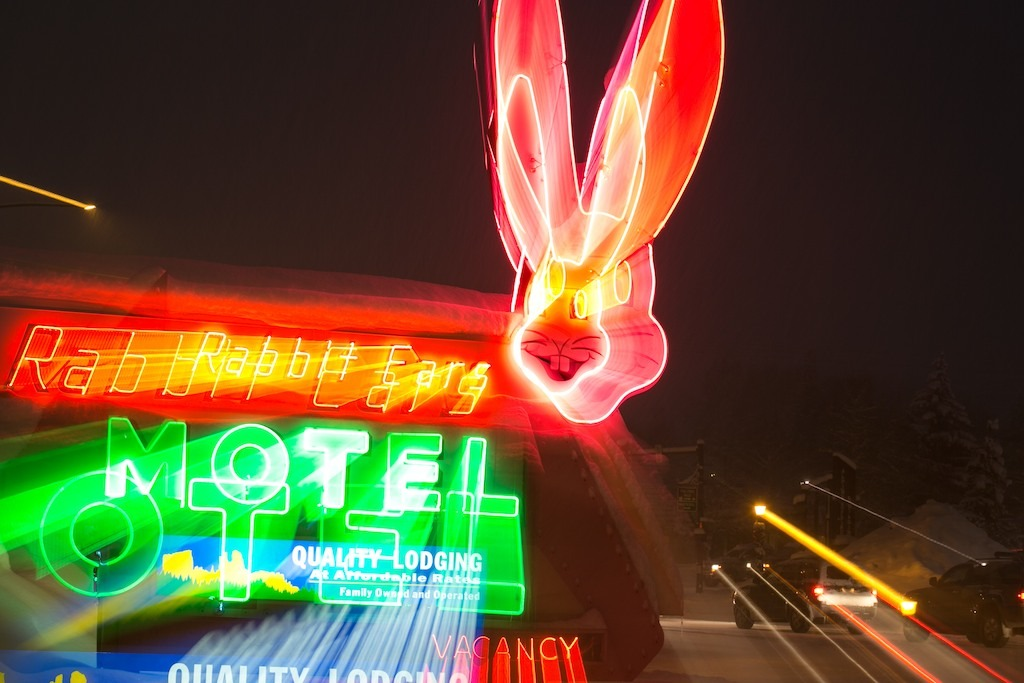 The world famous Rabbit Ears motel on Main Street in Steamboat Springs.