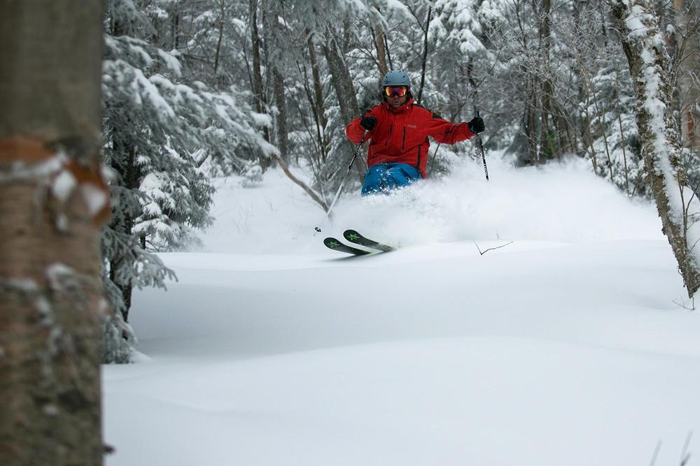 Powder in the trees at Killington.