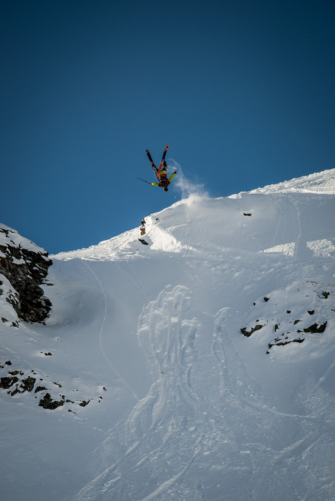Cody Townsend throwing a huge backflip at the Swatch Skiers Cup.