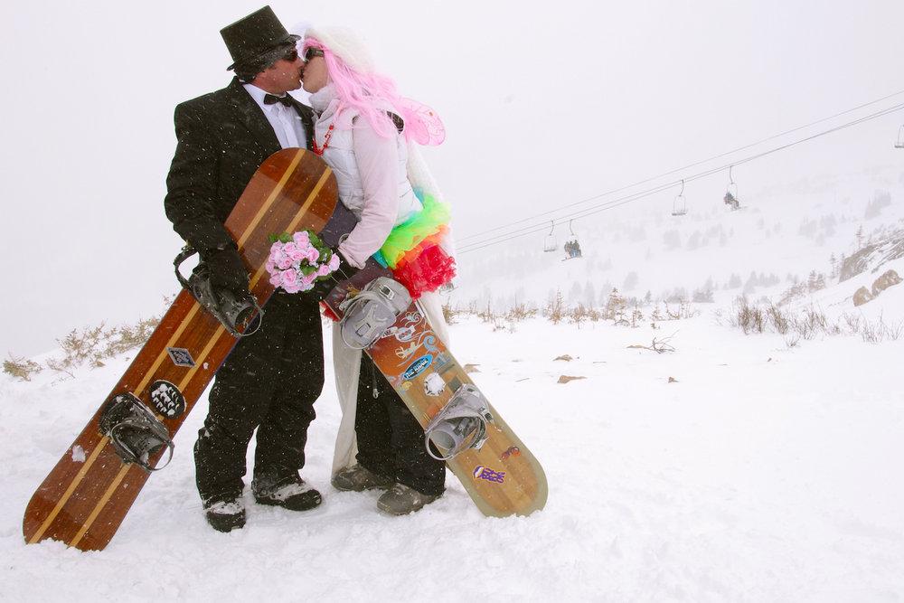 Loveland celebrates Valentine's Day with the 22nd Annual Mountaintop Matrimony ceremony. - © Photos courtesy Dustin Schaefer/Loveland Ski Area.
