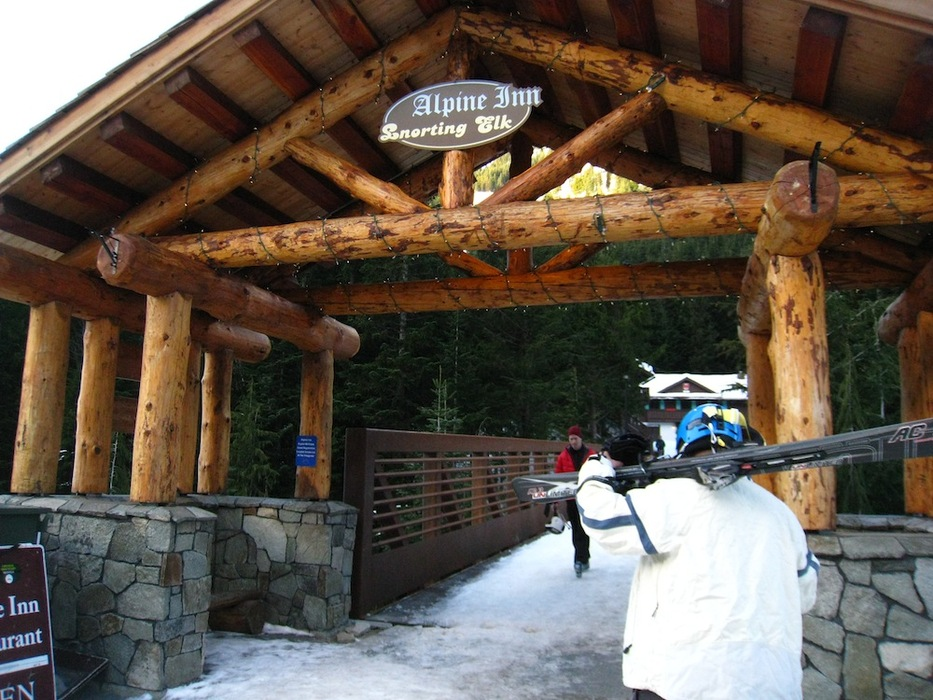 Cross a covered bridge to reach the Alpine Inn at Crystal Mountain, Washington. Photo by Becky Lomax.
