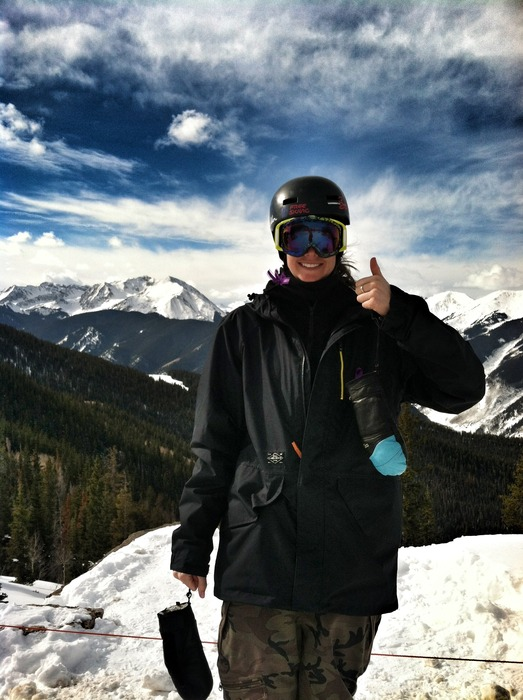 Despite not being able to compete yet in 2013, Olenick has been able to ski Aspen with friends.