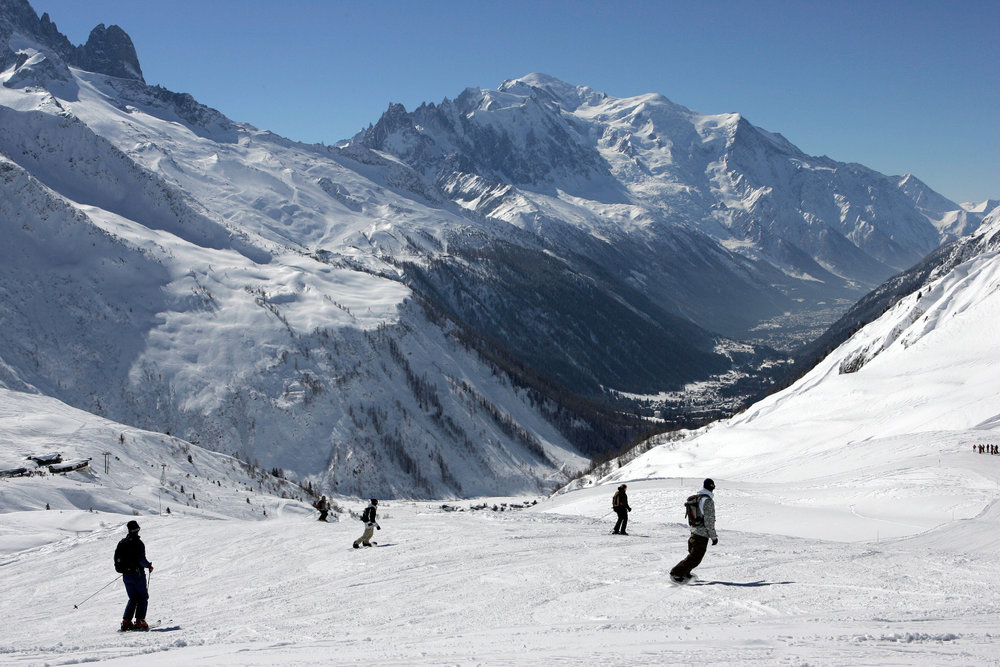 Skiing at Chamonix on Balme sector (with view on Mont-Blanc)
