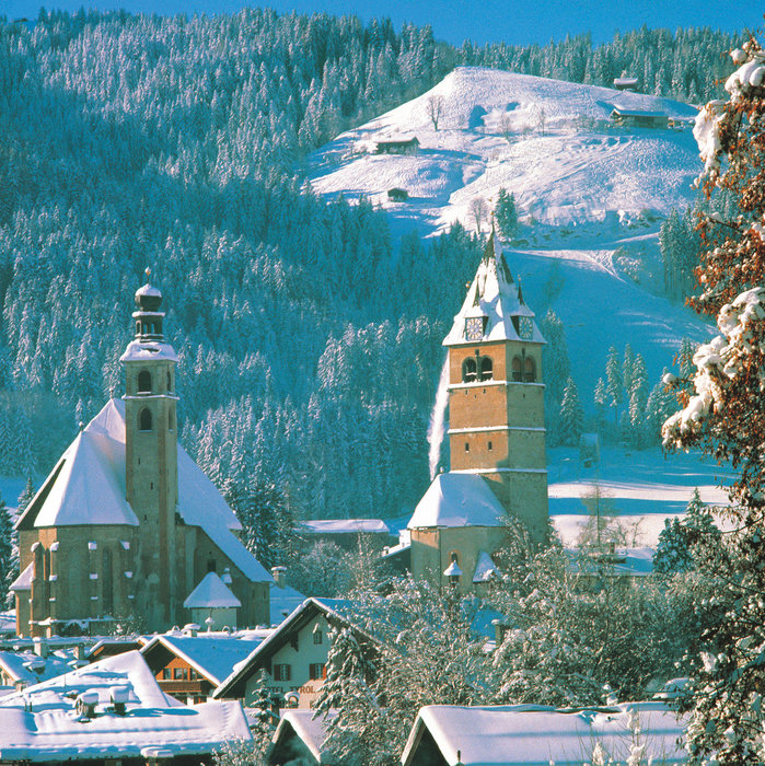 A snow-clad Kitzbuehel town
