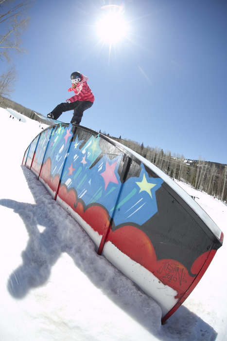 Shredding the Golden Peak Terrain Park.