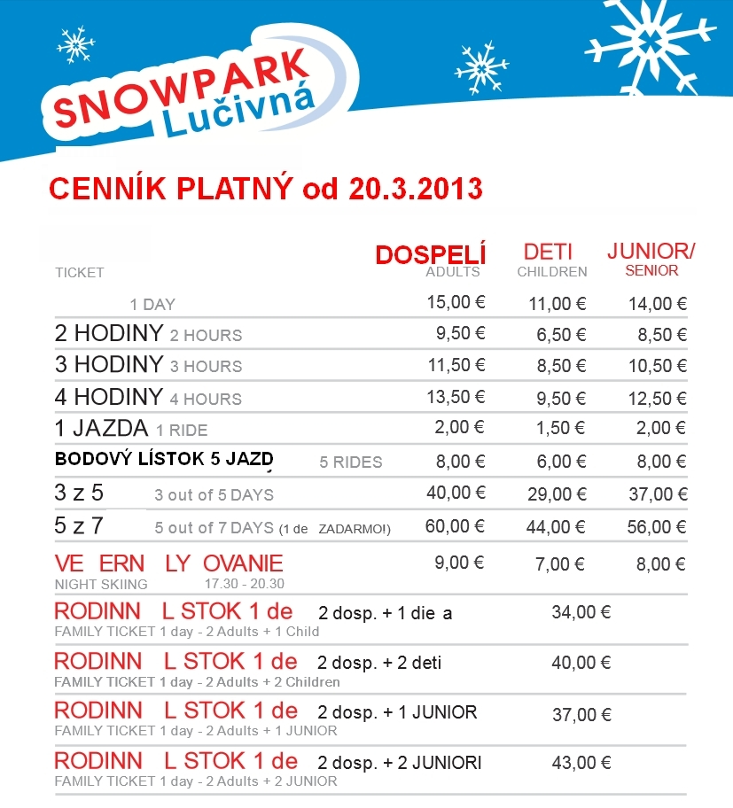 Snowpark Lučivná - ©Snowpark Lučivná