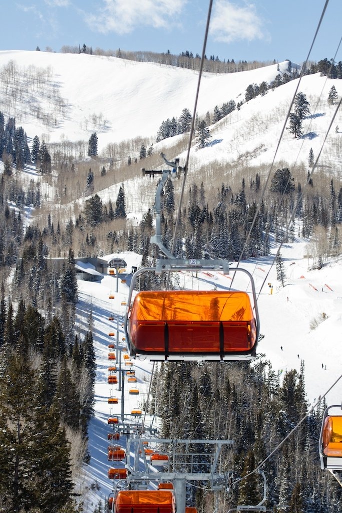 The bubble express allows skiers to stay warm during storm days at Canyons Resort.