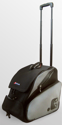 The SkBoot Bag can carry a pair of ski boots, a helmet, goggles, your laptop and more.  - ©SkBoot
