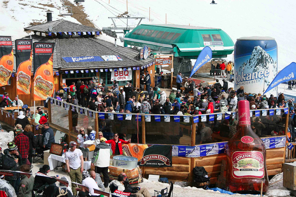Kokanee Kabin deck during spring celebrations at Lake Louise. Photo courtesy of Ski Big 3.