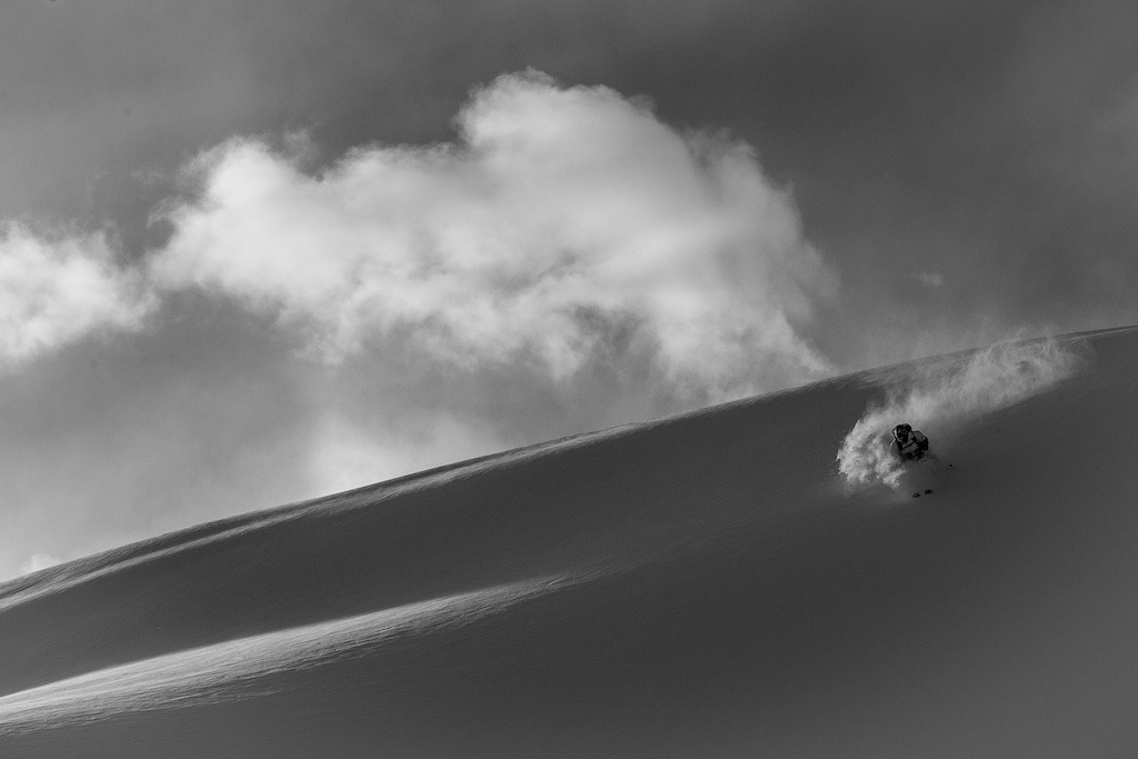 Patagonia Ambassador, Aidan Sheahan skis at Irwin Cat Skiing at Eleven Colorado. - ©Jeff Cricco