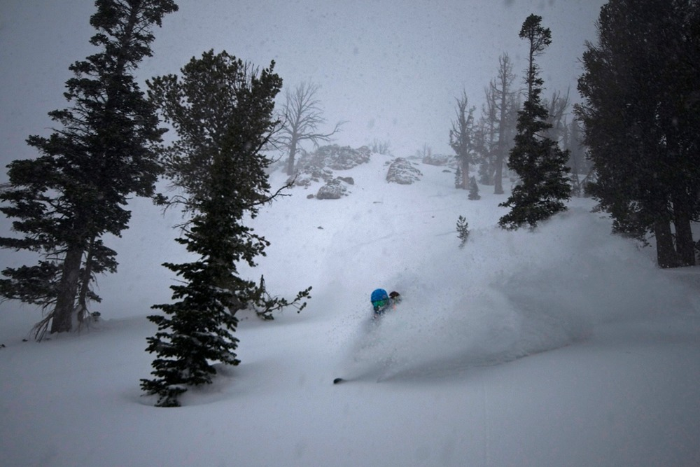 Pro skier Shroder 'Trenchmaker' Baker does his thing while the flakes fly. Photo By Chris Figenshau