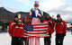 A picture of Uncle Sam and ski patrol employees at Loon Mountain, New Hampshire