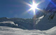 Chamonix glacier and solar lens flare.