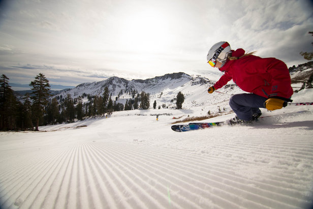 Early season corduroy off Goldcoast at Squaw Valley