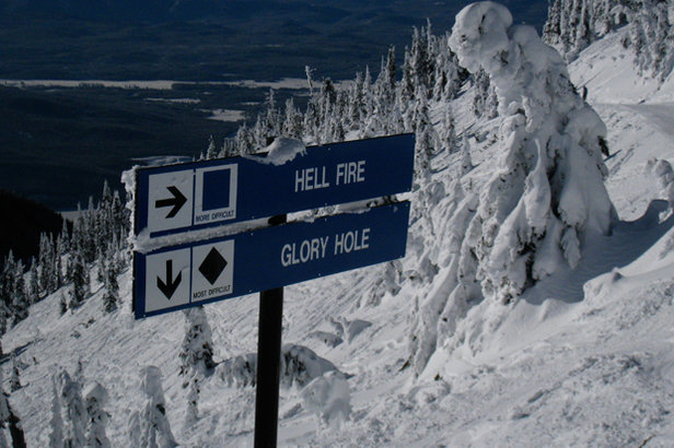 Hellroaring Basin offers the Hellfire cruiser, chutes, glades and aprons at Whitefish Mountain Resort. - ©Becky Lomax