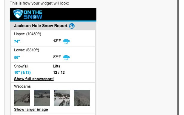 OnTheSnow web widget, single resort view