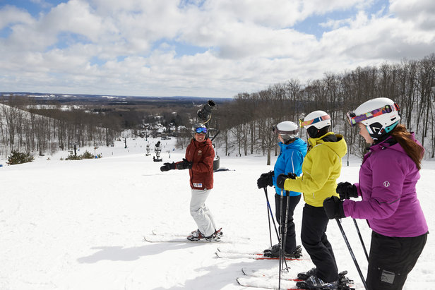 Students with instructor on Main Street run at Michigan's Crystal Mountain