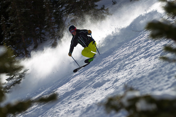 Tester, Harper Phillips gettin' after it on day 3, all-mountain skis. - ©Cody Downard Photography