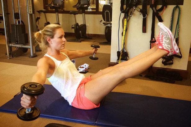 Lindsey Vonn durante uno dei suoi allenamenti...