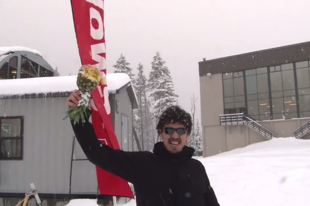 Mt. Hood Meadows held a pineapple toss at mid-December warm, wet weather. - ©Mt. Hood Meadows
