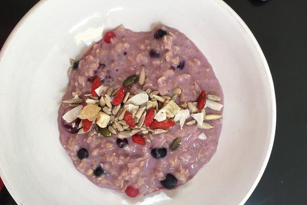 Porridge with berries is a great way to start a day of skiing - ©Sophie Jane