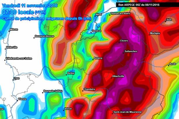 Carte des chutes de neige des 3 prochains jours - ©Meteociel.fr - Source Météo France