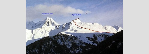 Vom Tal aus sieht das Figerhorn noch steiler aus als wenn man davorsteht - ©E. Herrmann