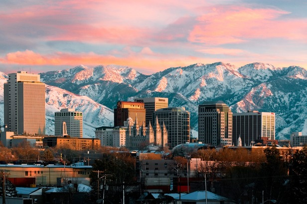 Salt Lake City at sunset. Photo by Douglas Pulsipher. Courtesy of Visit Salt Lake.