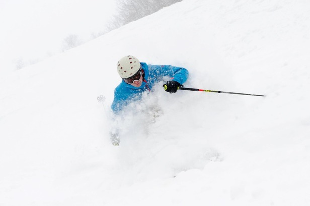 A skier's rewarded on a Stratton powder day. Photo Courtesy of Stratton Mountain Resort.