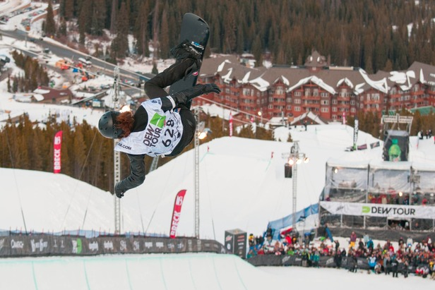 Shaun White, two-time Olympic gold medalist, stomped another matchless blend of moves to win the superpipe event at the Dew Tour in Breckenridge.