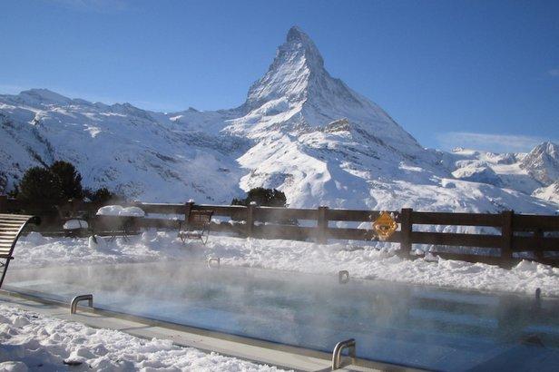 Heated pool next to the Matterhorn at the Riffelalp Resort, Zermatt