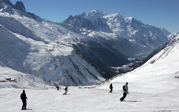 Ski avec vue sur le Mont-Blanc depuis les pistes de Balme - ©M. Dalmasso