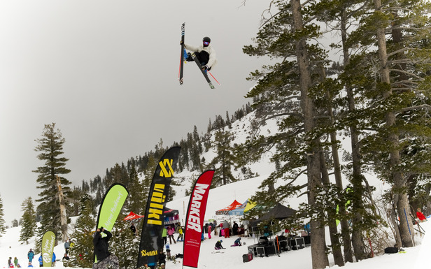 Andy McDowell flies high over the crowd at High Fives Foundation and Volkl Ski's TRAINS 2012