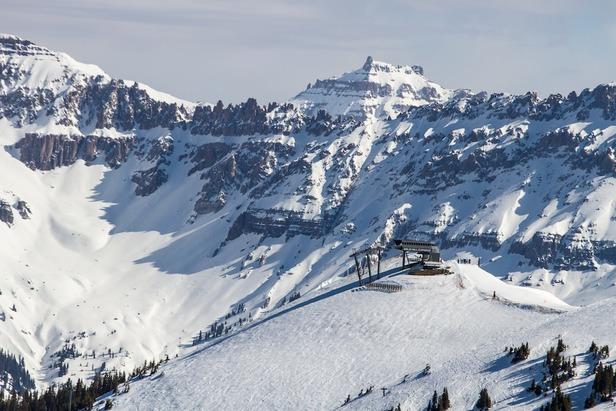 The majestic San Juan Range serves as the backdrop for skiing in Telluride.