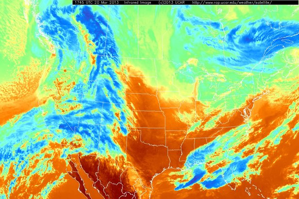 Infrared satellite images detect clouds based on temperatures. In this image, blue areas show colder clouds, which means they are higher in the sky. Red colors show warmer areas, which often means the satellite is sensing the warmer ground with no clouds