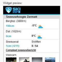 Skiinfo sneeuwhoogte widget