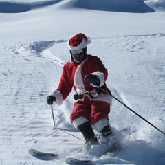 Santa stops in for some Peak 6 pow at Breckenridge.  - ©Breckenridge
