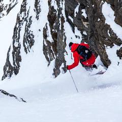 Todd LIgare skiing a steep chute in Door 1, Revelstoke.  - ©Liam Doran