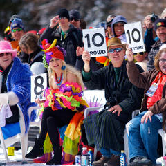 Style and skill play a big part in Canyons Resort's annual pond skimming party. - ©Courtesy of Canyons Resort
