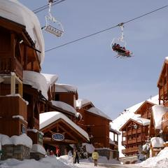 Val Thorens village with chairlift overhead