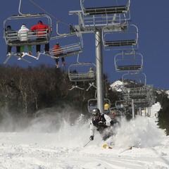 Skier sprays snow at Whiteface