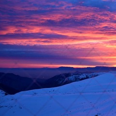 No snow falling means a beautiful sunset over the mountain's at La Parva Ski Resort in Chilie