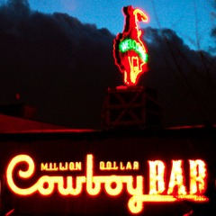 Downtown Jackson holds a variety of nightlife spots including the famed Cowboy Bar. Photo by Elliot Leuthold/Flickr.