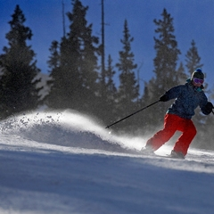 A skier takes their first turns of the season.