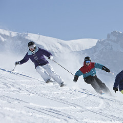 Carving up the slopes in Laax
