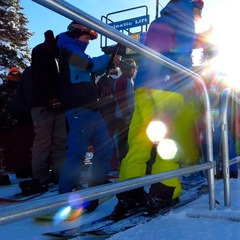 A bluebird day greeted skiers and riders during opening day at Brighton Resort