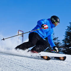 A skier rips down the groomers at Mont-Sainte-Anne. Photo courtesy of Mont-Sainte-Anne.